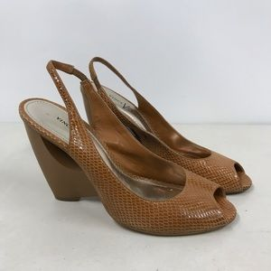 Vince Camuto Tan Leather Slingback Peep Toe Heels